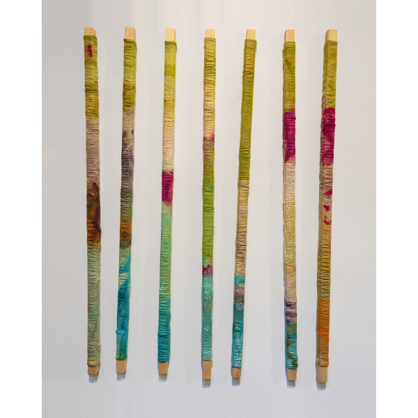 """Wendy Franklin """"Bar Collective"""" Hand-dyed wool & silk, $2800, 48""""H x 36"""" to 48""""W"""