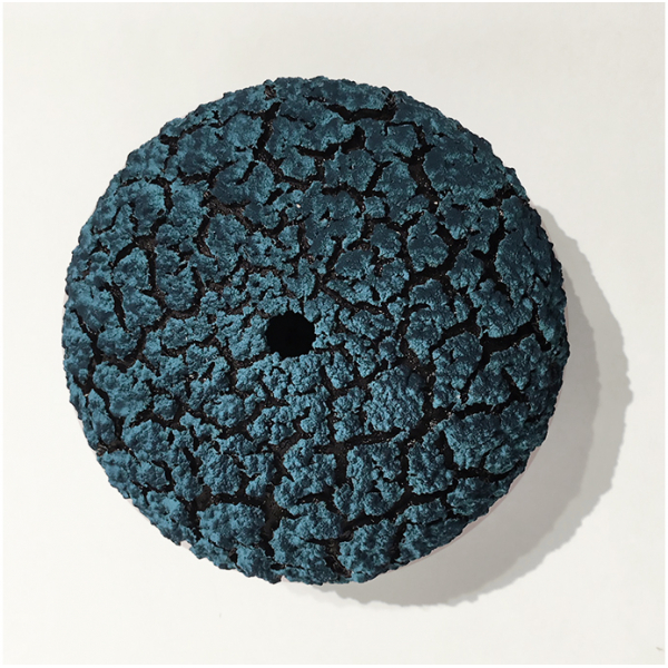 "Randy O'Brien: ""Urchin Vessel""; Turq Green/Peacock Blue 4""H x 6"" Diameter"