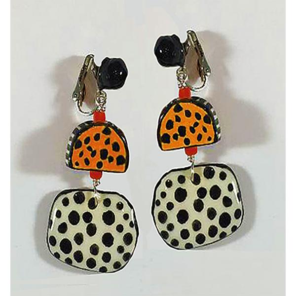 Yellow/Black Pod Clip Earrings, Sherie Presta, Handmade ceramic beads, $178, 2 1