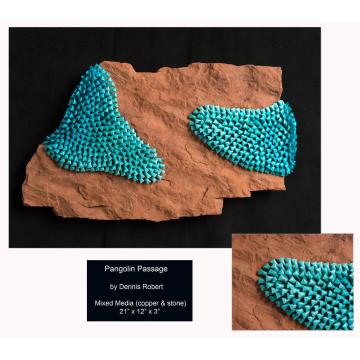 "Dennis Robert ""Pangolin Passage"" 21"" X 12"" x 3"" Stone & Copper with Patina"