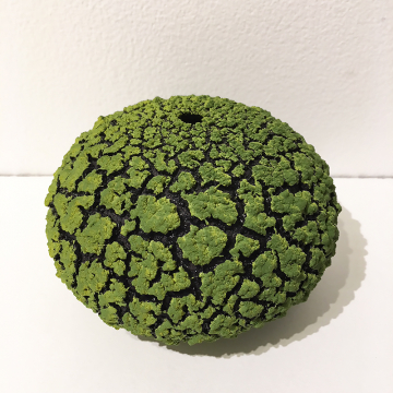 "Randy O'Brien: ""Urchin Vessel""; Lime Green, 4""H x 6"" Diameter"