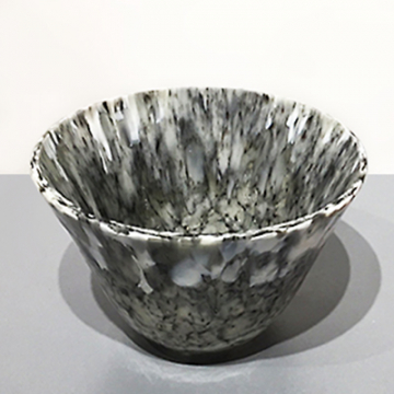 """Shelby Hine, B & W """"Candy Bowl"""", Fused and slumped glass, 4 7/8""""Diameter x 3 1/"""
