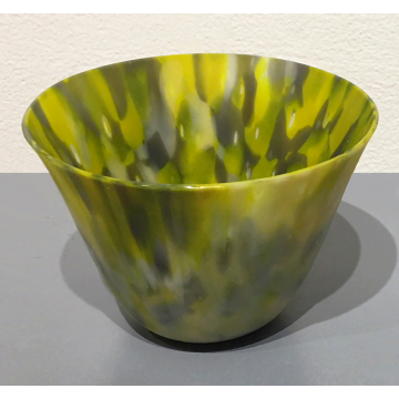 """Shelby Hine, Green """"Candy Bowl"""", Fused and slumped glass, 4 7/8""""Diameter x 3 1/"""