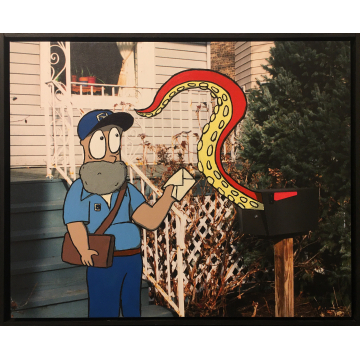 """Adam Rebora """"Delivery"""" Acrylic and photo on canvas, $500 21""""W x 17""""H"""