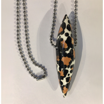 """Leopard Pod Necklace, Sherie Presta, Handmade ceramic bead with 30"""" stainless st"""
