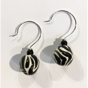 """Zebra ball earrings, Sherie Presta, Handmade ceramic beads,$98,Bead is 1 1/4""""H"""