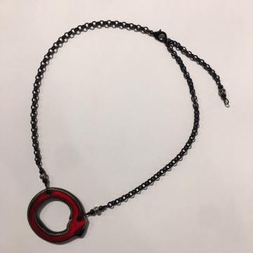 "Reversible White/Red & Black ""Mod"" Necklace, Sherie Presta, Handmade ceramic wit"