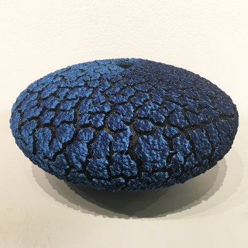 "Randy O'Brien: ""Lichen Vessel"", Turquoise Blue/Sapphire Blue, $800, 13"" Diameter"
