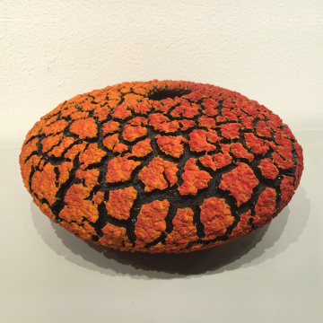 "Randy O'Brien: ""Lichen Vessel"", Orange/Red, $350, 9"" Diameter x 5"" H"