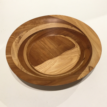 "Ed Brogan, Hand Turned wooden bowl #294, Black walnut and Cherry,  11 1/4"" Diame"