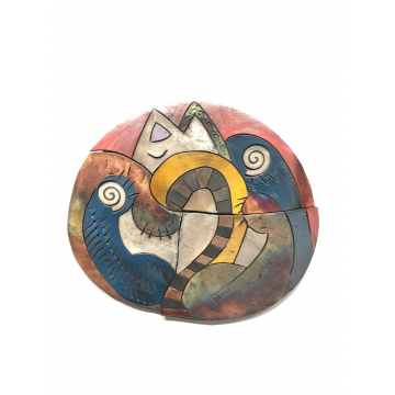 """Round Cat"", Jody Delind, Raku fired ceramic wall piece,14 1/2"" x 12 1/2"", $375"