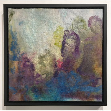 "Wendy Franklin ""Mine was the Twilight"" Hand-dyed wool & silk, $850, 18""H x 18""W"