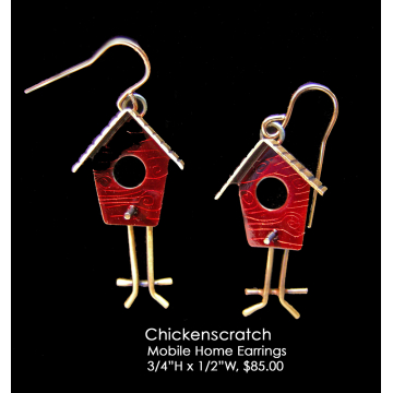 "Chickenscratch,""Mobile Home"" ERRs, Sterling silver, pigment, 3/4""H x 1/2""W, $85"