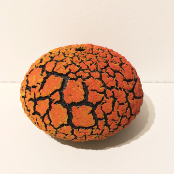 "Randy O'Brien: ""Urchin Vessel""; Yellow/Orange, 4""H x 6"" Diameter"