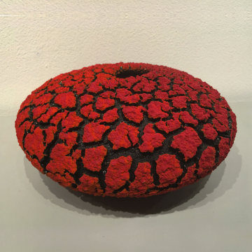 "Randy O'Brien: ""Lichen Vessel"", Red, $350, 9"" Diameter x 5"" H"