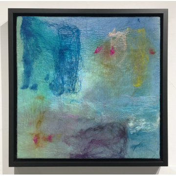 "Wendy Franklin ""Summer Snow"" Hand-dyed wool & silk, $750, 16""H x 16""W"