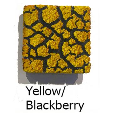 "Randy O'Brien 8 inch Square ""Lichen"" Wall Tile: Yellow/Blackberry"