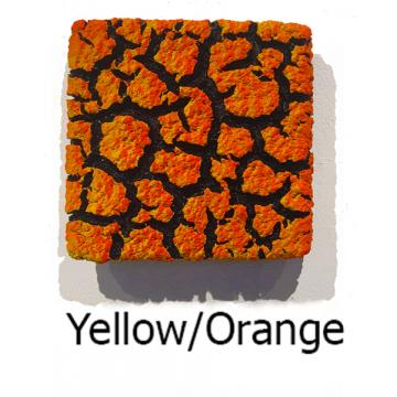 """Randy O'Brien 8 inch Square """"Lichen"""" Wall Tile: Yellow/Orange"""