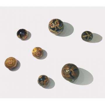 "Gregory Story, ""Wall Balls"" in earthtones, Ceramic, set of seven (Twomedium 6"""