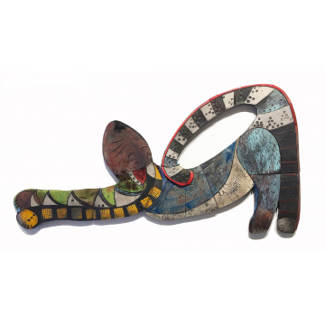 """Scout"", Jody Delind, Raku fired ceramic wall piece, 41"" x 21"", $1200"
