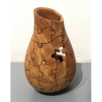 """Art Liestman, Hand Turned and carved wooden """"bag"""" Bigleaf maple burl, 4""""H x 2 1/2"""" Diameter, was $350 now $280"""