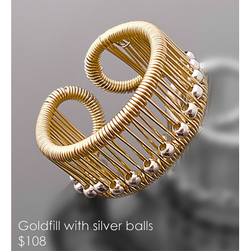 Tana Acton, Goldfill Ring with Silver balls, $108, Fits sizes 5 to 9. Please inquire about larger sizes