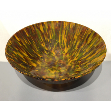 """Shelby Hine, Orange andf brown bowl """"Amber Waves of Grain"""", Fused and slumped glass, 4 7/8""""Diameter x 3 1/4"""" H, was $750 now $525"""