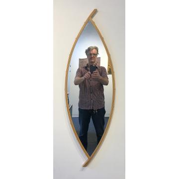"David Kiernan, Curved mirror,maple, wenge & stainless steel, 28""H x 12 1/2""W x7/8""D, was $700 now $490"