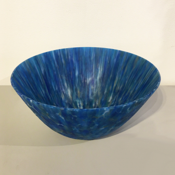 """Shelby Hine, """"Exuma Blue"""", Fused and slumped glass, 14 """"Diameter x 6 1/2"""" H, was $1200 now $840"""