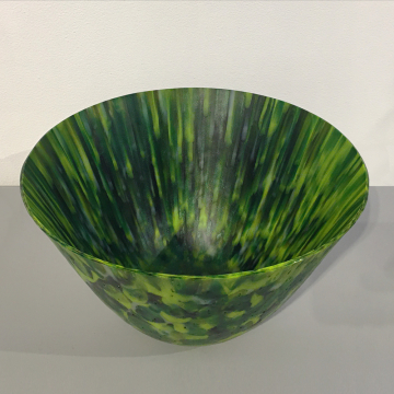 """Shelby Hine, """"First Mow"""", Fused and slumped glass, 14 """"Diameter x 6 1/2"""" H, was $800 now $560"""