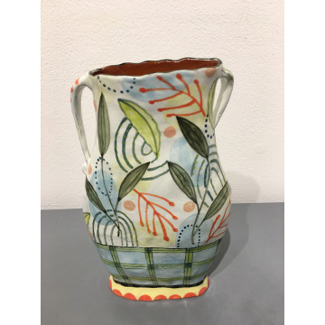 "Nancy Gardner, Medium ""leaf"" Vase with Handles, Ceramic, $138, 8""H x  4 3/4""W x  2 1/4""D"