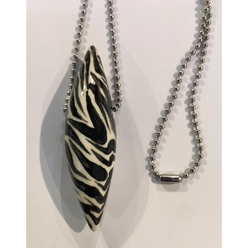 "Zebra Pod Necklace, Sherie Presta, Handmade ceramic bead with 30"" stainless steel ball chain, $178, Bead is 2 1/2""H x 5/8""Diam"