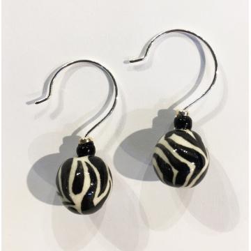 """Zebra ball earrings, Sherie Presta, Handmade ceramic beads,$98,Bead is 1 1/4""""H x 7/16""""Diam"""