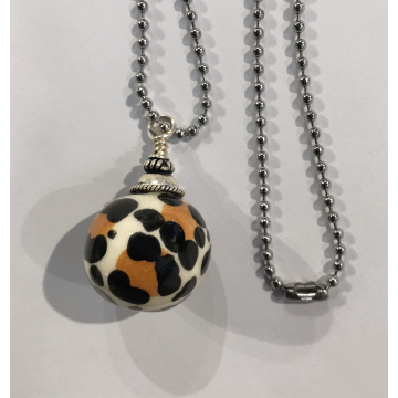 "Sherie Presta, Handmade ceramic with 30"" stainless steel chain, $178, Chain can be cut to size, Bead is 1"" in Diameter."