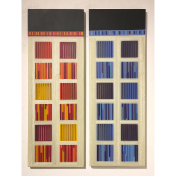 """Steve Immerman, """"DNA_3"""", Fused and slumped glass, each panel is 6 1/2""""W x 18""""H,$1195"""