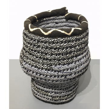 "Vera Johnson, ""Moving Stripes"" fiber basket,  12""H x 12"" Diameter, was $275 now $220"