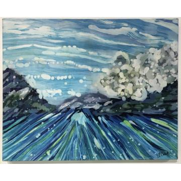 "Linny Coale Freeman, ""Celebration of Sea and Sky II"", Hand painted silk, 20""W x 16""H x 1 1/2""D, $600"