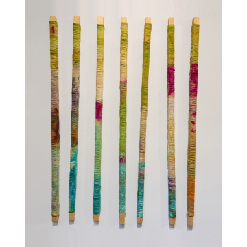 "Wendy Franklin ""Bar Collective"" Hand-dyed wool & silk, $2800, 48""H x 36"" to 48""W"