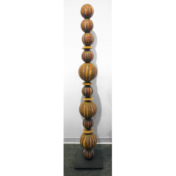 "Gregory Story, ""Totem"" in earthtones, Ceramic, 77""H x 14""W x 14""D, was $3000 now $2000"