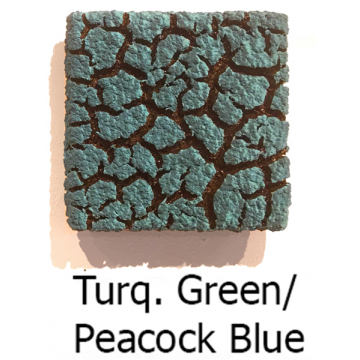 """Randy O'Brien 8 inch Square """"Lichen"""" Wall Tile:Turquoise Green/Peacock Blue"""