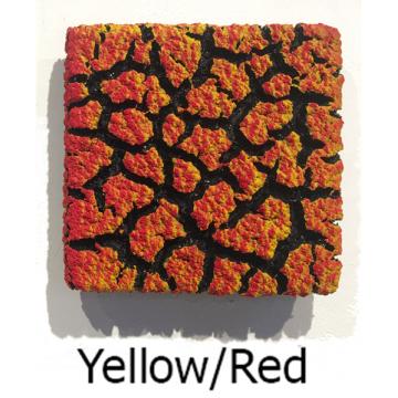 "Randy O'Brien 8 inch Square ""Lichen"" Wall Tile: Yellow/Red"