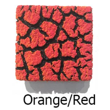 """Randy O'Brien 8 inch Square """"Lichen"""" Wall Tile: Orange/Red"""