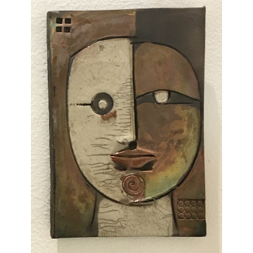 """Face Tile"", Doug Delind, Raku fired ceramic wall piece, 7""H x 5W"", $100"