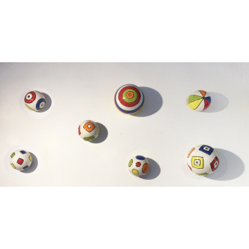 "Gregory Story, ""Wall Balls"" in multi-color, Ceramic, set of seven (Two medium 6"" diameter Five small 4"" diameter) was $750 now $600"