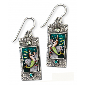 "Bijou Graphique, ""Dance with the Kelpies"" Earrings,  Sterling Silver and semiprecious stones, 1 1/8""H x 1/2""W x 1/4""D, $95"