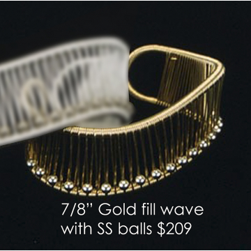 "Tana Acton, Gold Fill Cuff with Sterling Silver Balls"", $209 Fits a range of sizes"