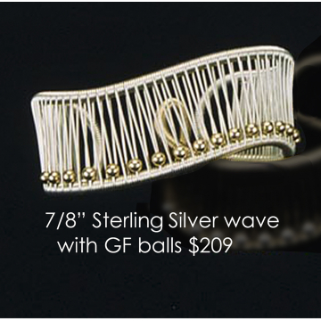 "Tana Acton, Sterling Silver Cuff with Gold Fill Balls"", $209 Fits a range of sizes"